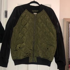 Quilted Olive Bomber Jacket